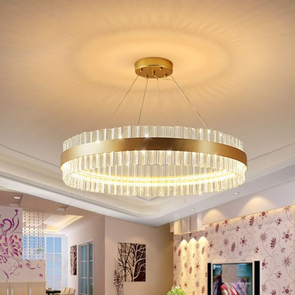 Circular Chandelier Light Postmodern Crystal Rod Gold Led Hanging Ceiling Light 16 Wide Chandeliers In 2020 Circular Chandelier Hanging Ceiling Lights Led Chandelier