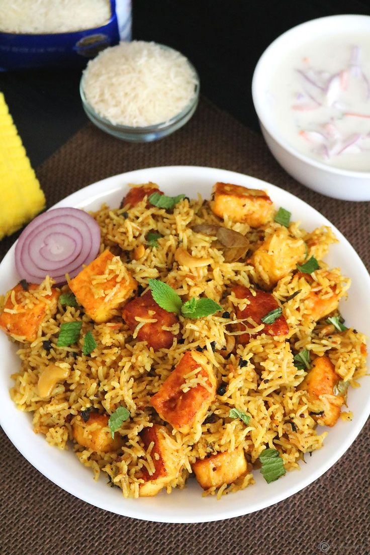 Paneer Biryani ~ Paneer Biryani is a super delicious and aromatic Indian rice entree made using fragrant basmati rice, cubes of paneer (Indian cottage cheese) and spices.