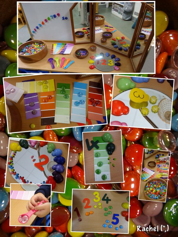 "Colourful maths... colour recognition, sorting, counting, pattern-making - from Rachel ("",)"