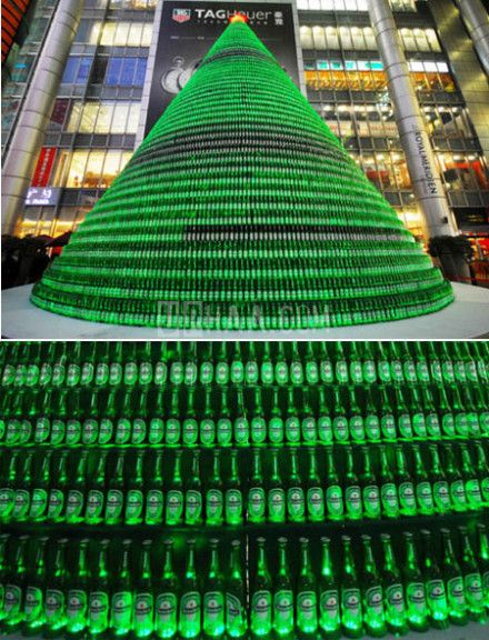 Christmas tree from recycled beer bottles.