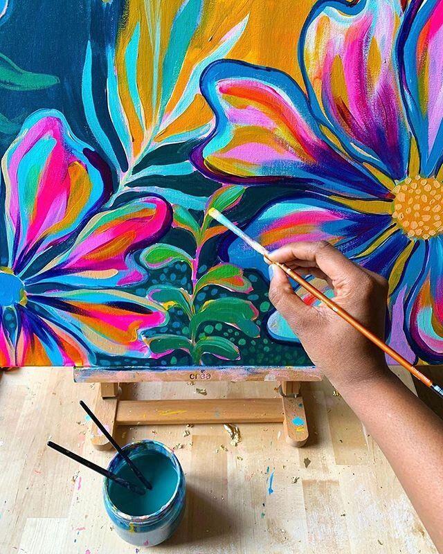 Oil Pastel Landscape, Hippie Painting, Teen Art, Art Projects For Teens, Mural Wall Art, Hippie Art, Abstract Flowers, Diy Art, Flower Art