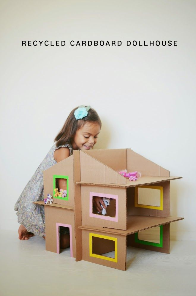 vintage+little: kids how to make a girls doll house out of a cardboard box