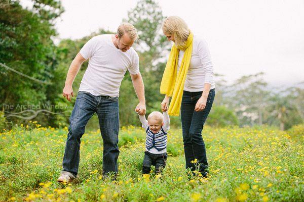 mum dad and toddler yellow gumboots kids family portrait in mount tamborine