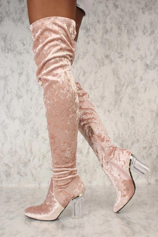 fd222846023 Sexy Blush Round Toe Thigh High Clear Chunky Heel Boots Faux Velvet   Highheelboots