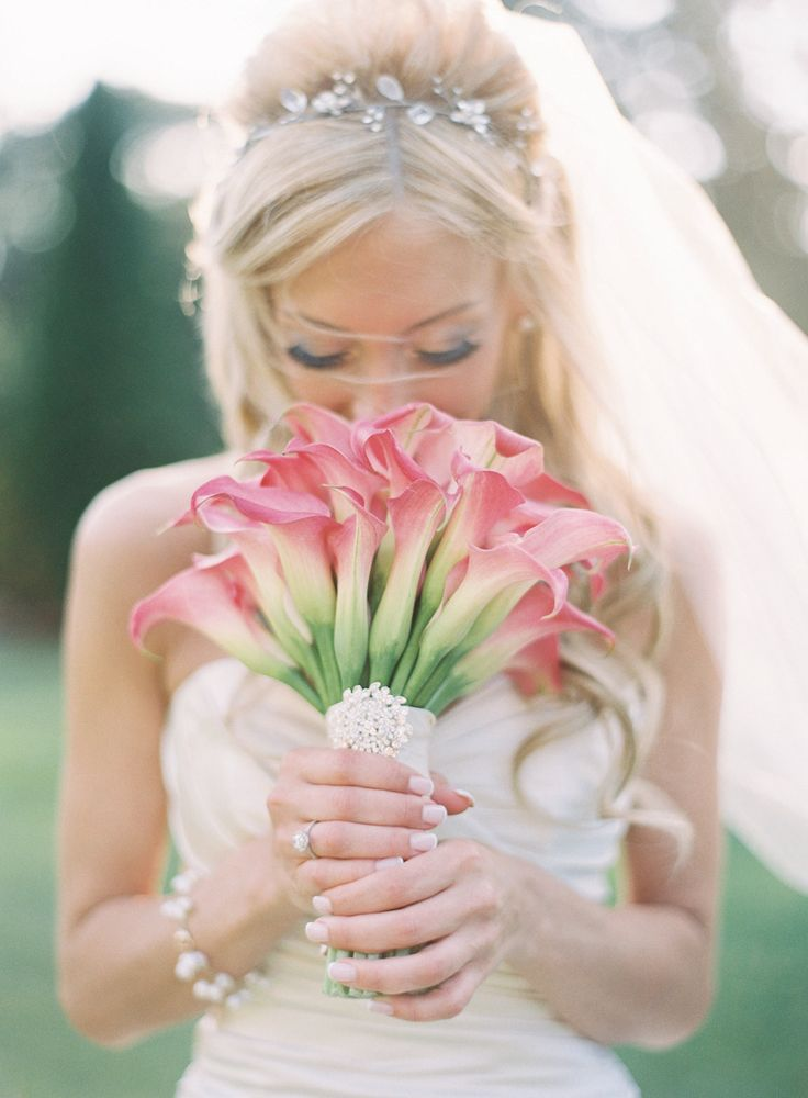 Pink Calla Lilly Bouquet | See the wedding on Style Me Pretty's Little Black Book Blog: http://www.StyleMePretty.com/little-black-book-blog/2014/03/10/elegant-pink-white-wedding-at-the-carltun/ Jen Huang Photography | Bouquet: Rountree Flowers