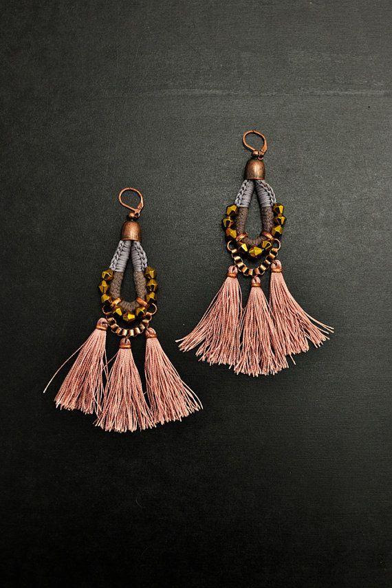 Gypsy Tassel Earrings, Large Chandelier Earrings, Apricot Drop Earrings, Hippie Dangle Earrings, Earthy Tones Earrings, Tribal Earrings
