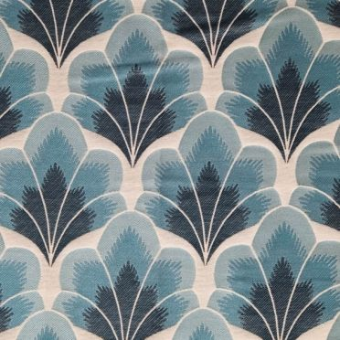Mokum Bargello repeat Jacquard in gradating colours. Inspired by Rococo architecture shell-like motifs.