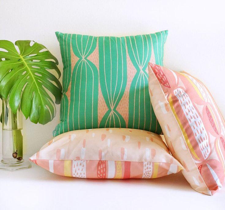 Modern Cactus Stripe Throw Pillow
