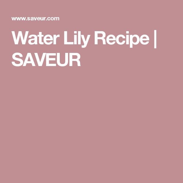 Water Lily Recipe | SAVEUR