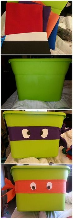 Teenage mutant ninja turtles toy bins.