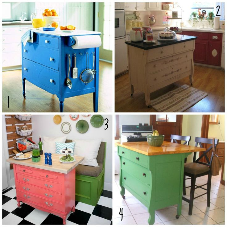 Amazing! DIY kitchen island / chopping block by using a old dresser and add wheels on it! Voila, kitchen island.