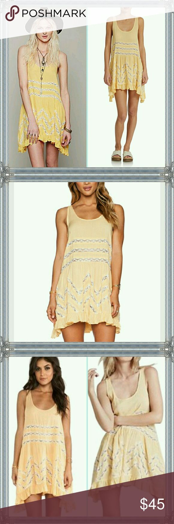 Free people voile & lace trapeze dress Mango combo, soft pale yellow with white lace and tiny dots. Excellent condition / EUC Free People Dresses Mini