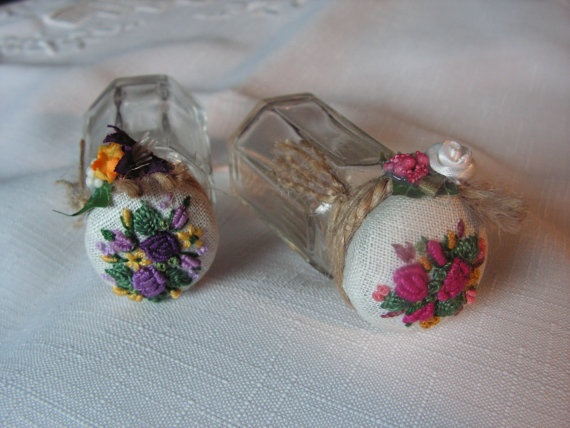 Embroidered jar  set of 2 by Mydaisy2000 on Etsy, $24.00