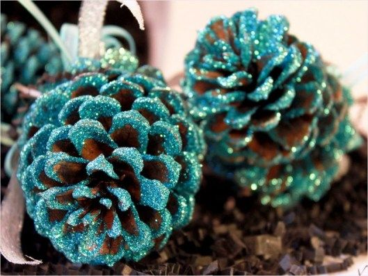 Frosted Pinecone Ornaments, Ive made several of these. I painted the tips in a variety of color and put frosted sparkle glitter. They are darling, I made pink, lavender, coral, teal, etc.