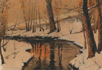 Winterliche Bachlandschaft by LászlóMednyánszky
