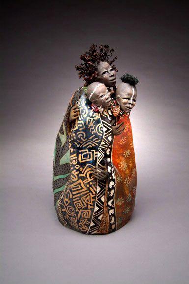 Figurines of intrigue.  Women of struggle – Patricia Boyd  Figurative gourd sculpture