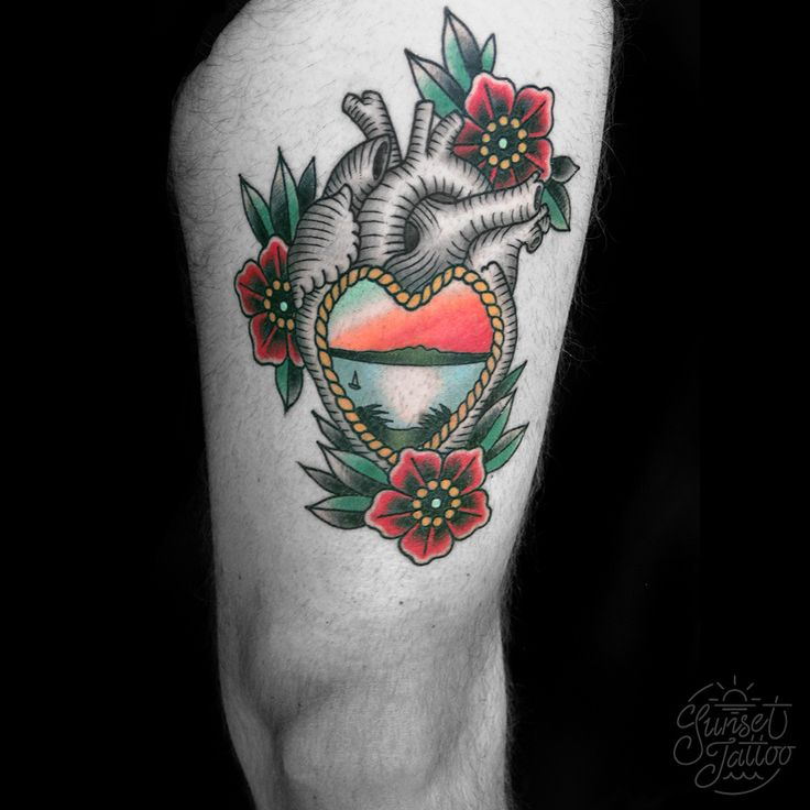 Tom traditional anatomically correct heart with flowers and sunset tattoo