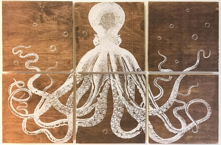 24x36 squid screen printed with white ink by CreationsSauvages on Etsy