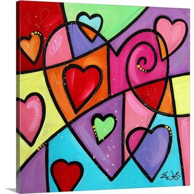 "Canvas On Demand 'Colourful Love III' by Eric Waugh Painting Print on Canvas Size: 24"" H x 24"" W x 1.25"" D"