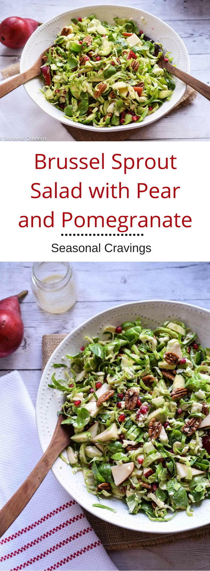 Brussel Sprout Salad with Pear and Pomegranate - Looking for a fun twist on a fall salad?  Try this Brussel Sprout Salad with Pear and Pomegranate.  It's full of healthy seasonal goodness and loaded with gorgeous color. #recipe #gluten free