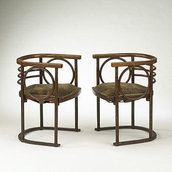 sedia 1907 (55x55x76 legno curvato tessuto imbottito)Josef Hoffmann (Brtice Repubblica Ceca 1870 - Vienna 1956) Thonet