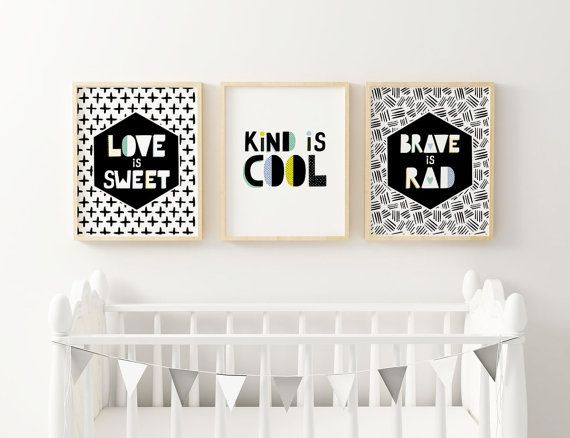 Monochrome Nursery Hipster Black And White Kind Is Cool Boys Wall Prints Modern Decor Boy