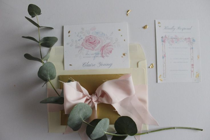 gorgeous bespoke wedding stationery, handmade wedding invites painted in watercolour and with touches of gold leaf
