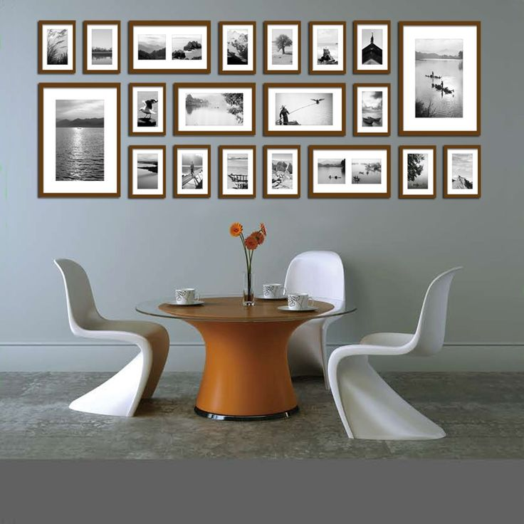 Large Multi Picture Photo Frames Wall Set 20 Pieces Set (Brown): Amazon.co.uk: Kitchen & Home