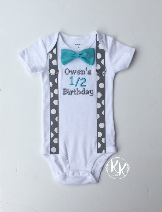 Boys Half Birthday Shirt 1 2 Bow Tie And Suspenders Bodysuit