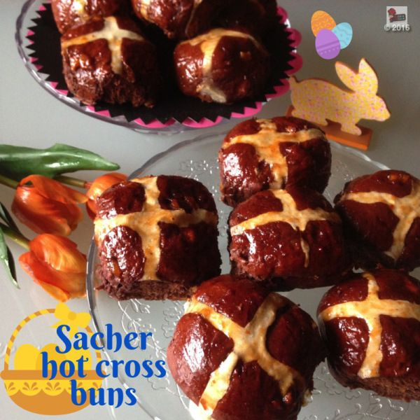 """If you want to give a twist on The Classic Easter time bake, try these """"Sacher"""" chocolate hot cross buns. Chocolate and apricot are always delicious"""