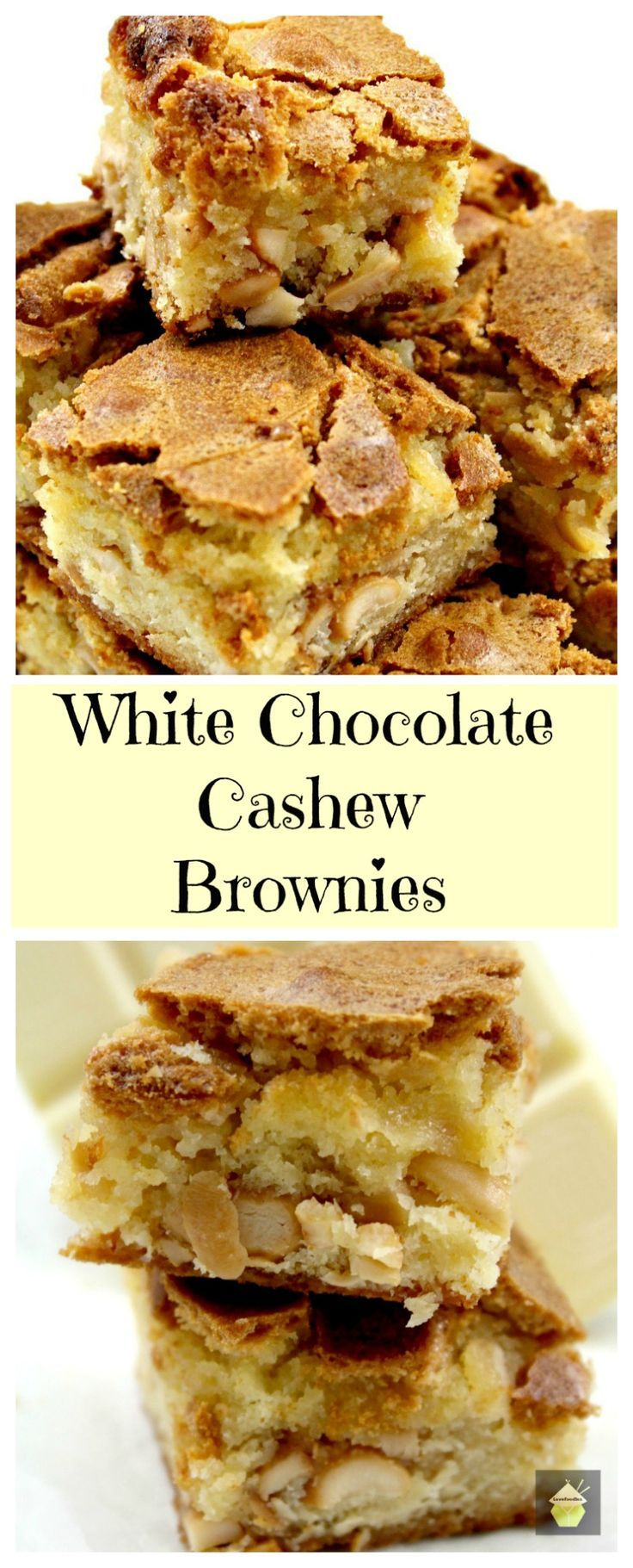 White Chocolate Cashew Brownies. A delicious brownie recipe with great flavors. Really easy recipe too! | Lovefoodies.com