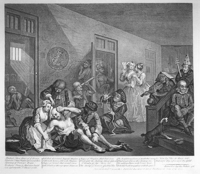 ホガース《精神病院》(銅版画) 1735