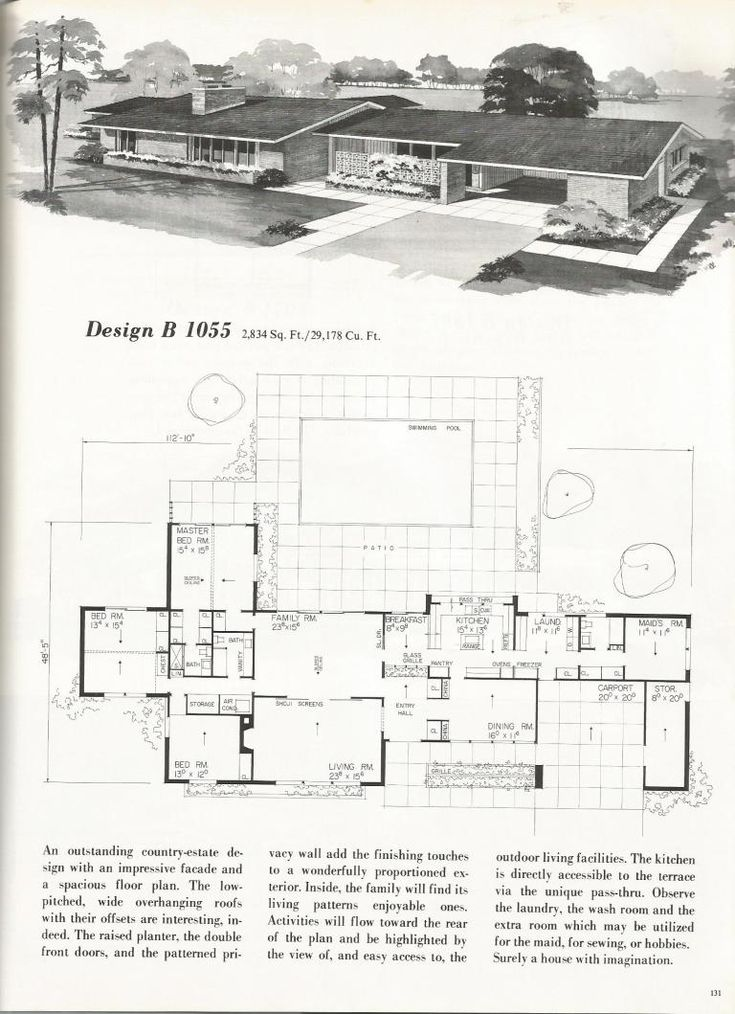 Vintage House Plans, 2000   square foot homes, mid century homes  ~ Great pin! For Oahu architectural design visit http://ownerbuiltdesign.com