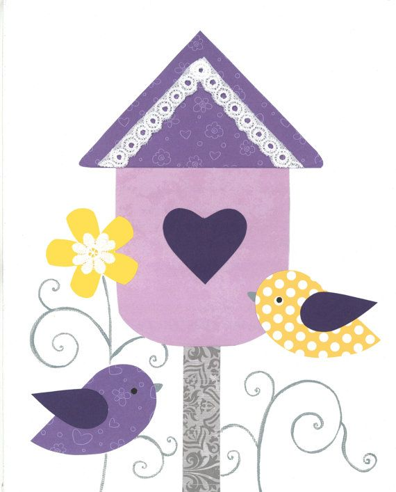 Purple Bird Nursery Kids Birdhouse Flowers Art by PeanutAndButtons, $15.00