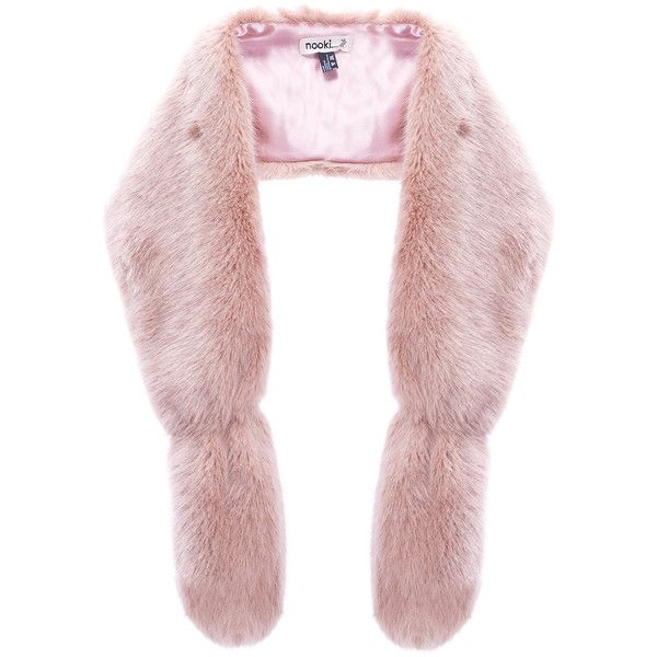 NOOKI Foxy Faux Fur Stole - Pink ($100) ❤ liked on Polyvore featuring accessories, scarves, pink, faux fur stole, oblong scarves, fake fur shawl, faux fur shawl and long scarves