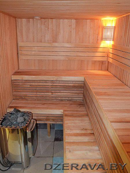 Парилка бани из ольхи. Alder in sauna