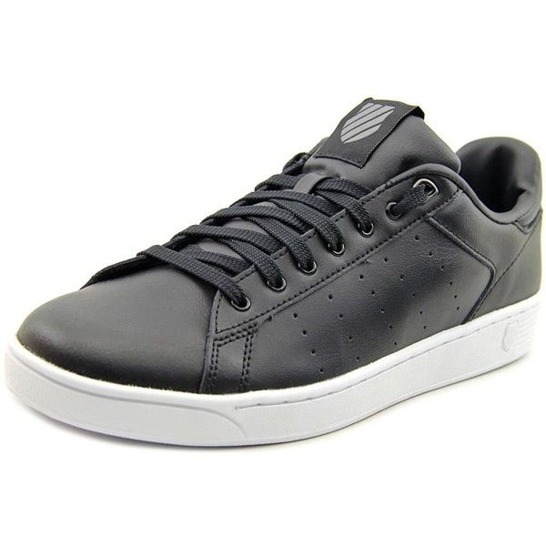 K-Swiss K-Swiss Clean Court Cmf Round Toe Leather Tennis Shoe |... ($45) ❤ liked on Polyvore featuring shoes, black, leather shoes, low heel shoes, black low heel shoes, black pumps and black tennis shoes