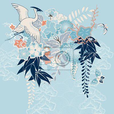 Fotobehang Japanse kimono motief met kraan en bloemen