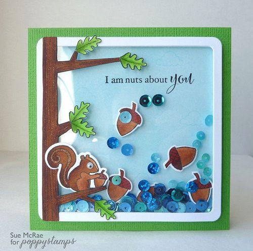 Featuring Poppystamps Cover Squirrel stamp set SKU 642941 and Cover Squirrel die set SKU 459928.  Available at www.addictedtorubberstamps.com