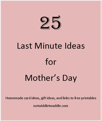 25 Last Minute Mother's Day Ideas: In my opinoin this pin should never exits. Mothers deserve more than a last minute thought! Plan for something These are tthe women we care about!
