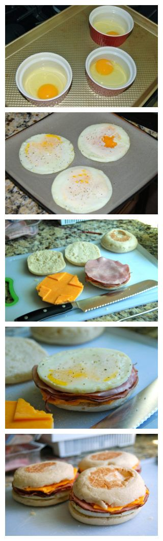 Breakfast Sandwiches: english muffins, biscuits or croissants/ ham, sausage patty or bacon and any cheese you prefer (american, provolone or munster)