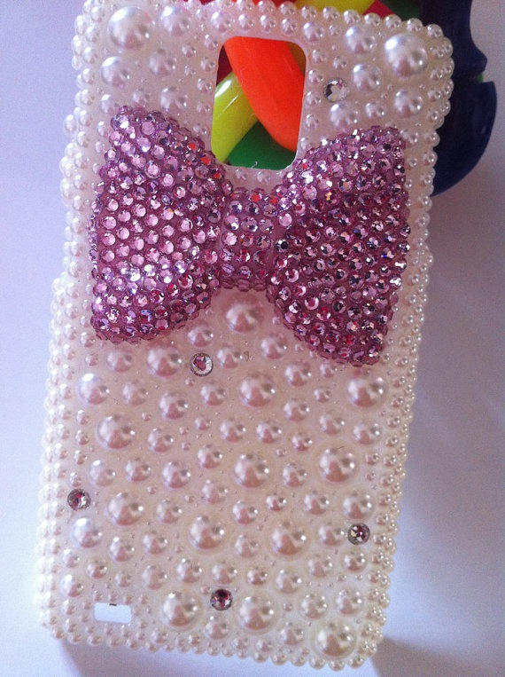 Handmade Blingbling Charms Rhinestones Pearls Diamonds Pink Bowknot Phone Case For Motorola DROID BIONIC XT875