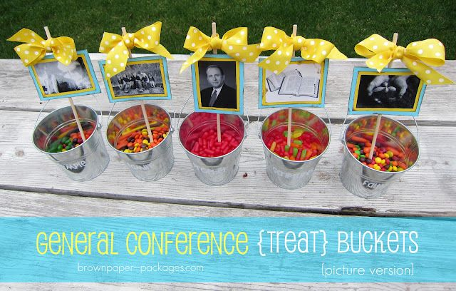 general conference idea for kids: Church Ideas, Conference Treats, Church Stuff, General Conference, Treats Buckets, Conference Ideas, Buckets Pictures Version, Brown Paper Packaging, Conference Buckets Pictures