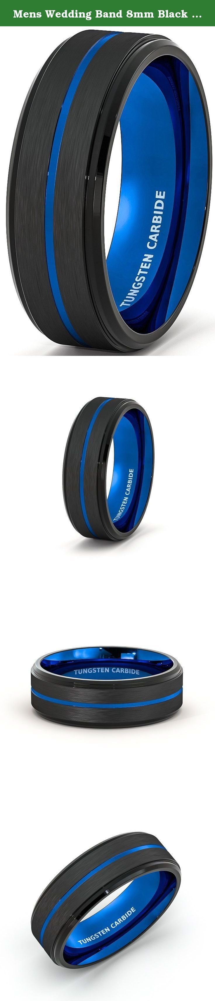 Mens Wedding Band 8mm Black Brushed Tungsten Ring Thin Blue Groove Step Edge Comfort Fit (7). Width: 8mm Fit: Comfort Fit Thickness: 2.3mm, Weight: Approximately 12-17g depend on sizes, Surface: Brushed Edge: Step Edge, Color: Black and Blue.