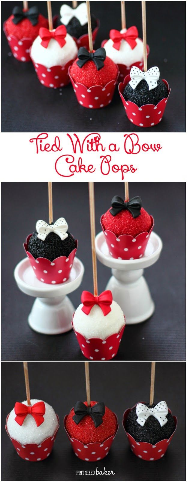 Perfectly poised cake pops! Easy to make and beautifully stunning! Red, black, and white are perfect for any event!  Get the tutorial and supplies from Pint Sized Baker.