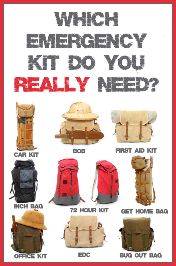 "If you are overwhelmed by all the information available on various emergency kits, this post is for you!  Before you can start creating a ""survival"" kit for your family, you need to know which kit(s) you actually need.  This post goes through 9 different kits including a 72 hour kit, bug out bag, emergency car kit, office bag, EDC, BOB and more!"