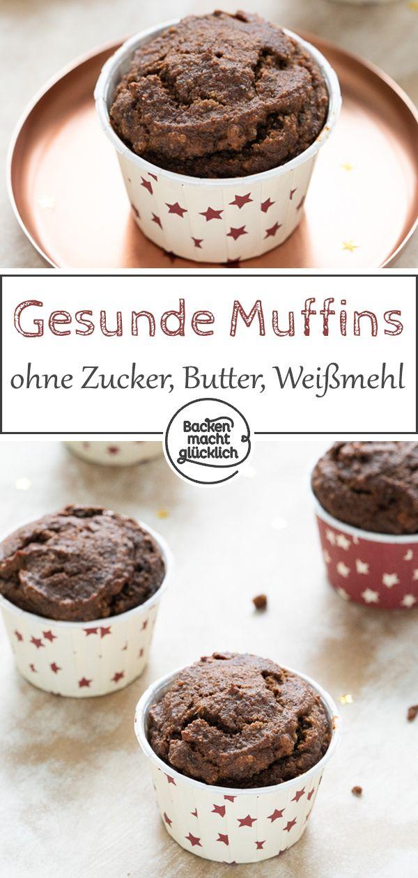 Gesunde Schokoladenmuffins ohne Zucker, Weißmehl und Butter – die super geschmeidig sind …   – Gesunde Backrezepte