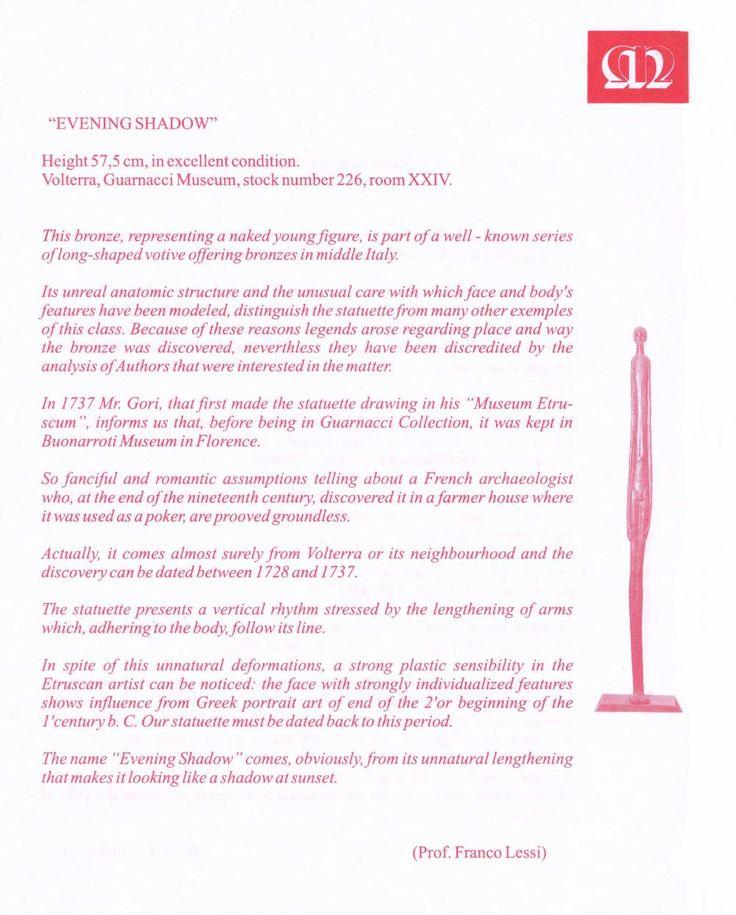 """Dèpliant informativo sull´originale """" Ombra della Sera """" custodita al Museo Guarnacci, Volterra. In italiano, inglese,francese,tedesco"""