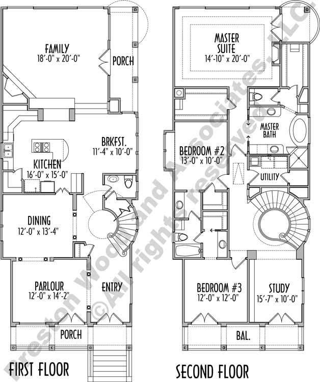 Two Story Patio House Plan C7245 Narrow House Plans House Plans One Story Narrow Lot House Plans