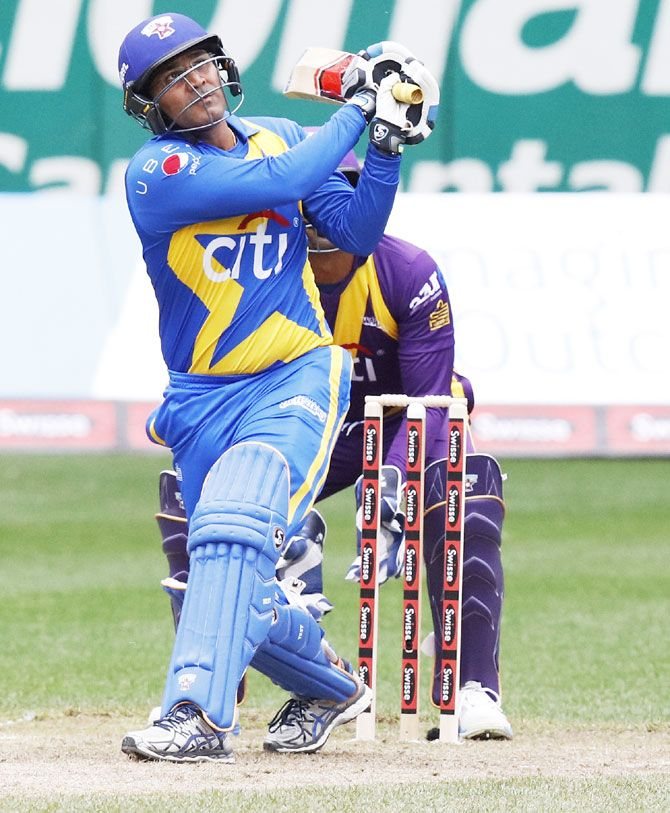 Virender Sehwag hits a six